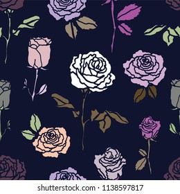 A seamless repeat pattern featuring classic rose flowers. Great for fabric, packaging, stationery, wallpaper and backgrounds that require a repeat surface pattern design.