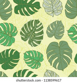 A seamless repeat pattern featuring monstera deliciosa tropical leaves. Great for packaging, stationery, wallpaper and backgrounds that require a repeat surface pattern design.