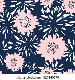 Seamless repeat pattern with flowers in blue and pastel pink on white background. Hand drawn fabric, gift wrap, wall art design.