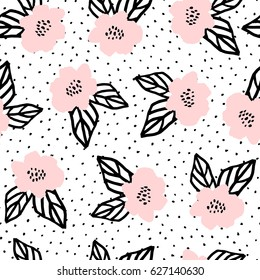 Seamless repeat pattern with flowers and leaves in black and pastel pink on white background. Hand drawn fabric, gift wrap, wall art design.