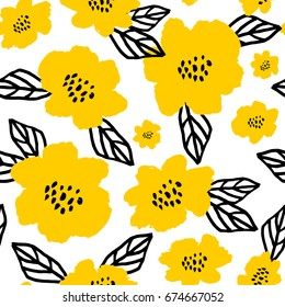 Seamless repeat pattern with flowers and leaves in black and yellow on white background. Hand drawn fabric, gift wrap, wall art design.