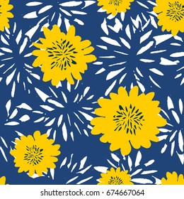 Seamless repeat pattern with flowers in white and yellow on blue background. Hand drawn fabric, gift wrap, wall art design.