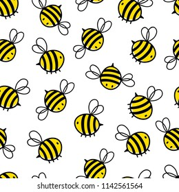 Seamless Repeat Pattern with Flying Bumble Bees Background