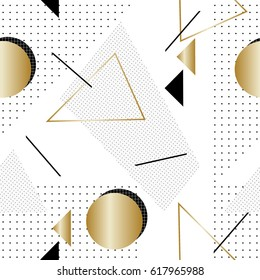 Seamless repeat pattern with geometric elements and textures in black, gold and white. Retro style tiling background, poster, textile, greeting card design.