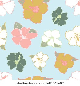 Seamless repeat pattern in hawaiian shirt style of hibiscus flowers. A tropical summer decorative design for vacation, holiday, hawaii and island living related projects.