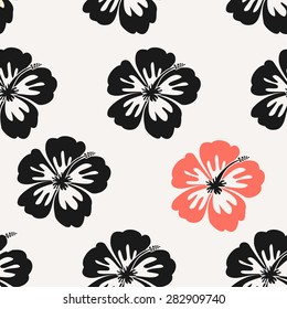 Seamless repeat pattern with hibiscus flowers and in black and red.