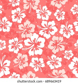 Seamless repeat pattern with hibiscus flowers