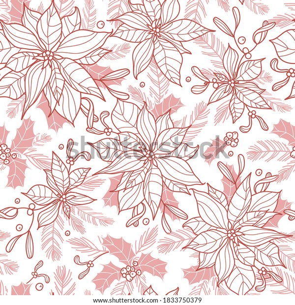 Seamless repeat pattern with holly, spruce sprigs and poinsettias. Lovely hand-drawn vector illustration in flat style. Christmas or New Year design for wrapping, textile, card, background.