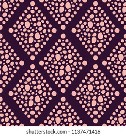 A seamless repeat pattern with an organic feel, featuring a dotted diamond tile mosaic look. Great for all your design projects that require a repeat surface pattern design.