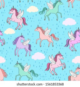 Seamless repeat pattern with pastel colors winged unicorns pegacorns flying in blue sky with clouds surrounded by twinkling stars
