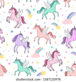 Seamless repeat pattern with pastel colors winged unicorns pegacorns flying in thesky with clouds surrounded by shooting stars