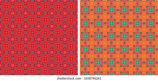 Seamless repeat pattern. Retro Style. Peranakan inspired.Oriental.Suitable for background print, wrapping paper,wallpaper, Lamp shade and fabric print.Interior design related.