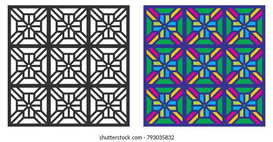 Seamless repeat pattern. Retro Style. Peranakan inspired. Suitable for background print, wrapping paper, Lamp shade and fabric print. Die cut for ceiling frame, wooden door. Interior design related.