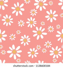 A seamless repeat pattern of simple margherita daisy flowers. Great for fabric, packaging, stationery, wallpaper and backgrounds that require a repeat surface pattern design.