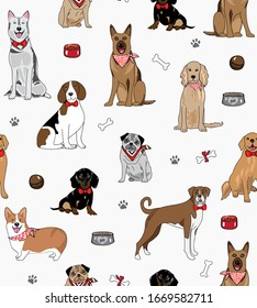Seamless repeat pattern with sophisticated happy dogs of different breeds wearing scarves and bow ties, surrounded by bones, bowls, toys and paw prints on a white background