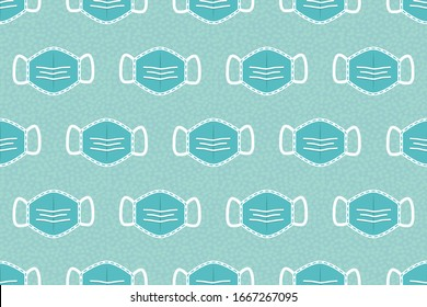 Seamless repeat pattern of surgical face masks illustrated on textured blue background. Great decorative design for medical, respiratory health related projects for social media and collateral.