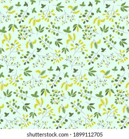 Seamless repeat pattern swatch. Vector design of leafy branches. Fresh nature, garden, countryside, environment pattern. Wallpaper, background, textile or paper print.