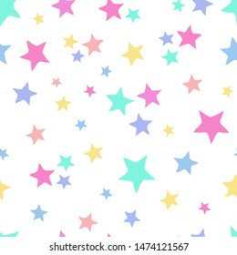 Seamless repeat pattern with tossed colorful pastel stars on a white background