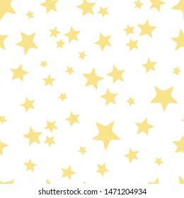 Seamless repeat pattern with tossed yellow stars on a white background