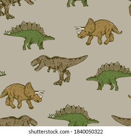 Seamless repeat pattern of t-rex, stegosaurus and triceratops dinosaurs.