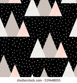 Seamless repeat pattern with triangle shapes in pastel pink, taupe, white and black. Modern textile, wall art, wrapping paper, wallpaper design.