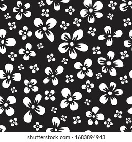 Seamless repeat pattern of white blooms on a black background. Simple, yet intricate floral pattern for cute decorative designs and seamless pattern related projects.
