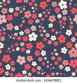 Seamless repeat of stylized flowers in a tossed pattern. A pretty floral vector design background.