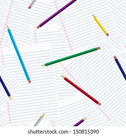 Seamless and repeatable pattern of notepaper with pencils