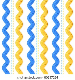 Seamless (repeatable) ric rac ribbons and stitches pattern, background ( for high res JPEG or TIFF see image 80237281 )