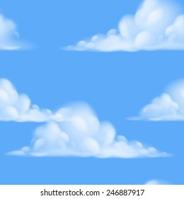 A seamless repeatable tiling cartoon sky background illustration