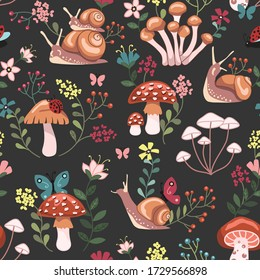 Seamless repeated surface vector pattern design with mushrooms, snails, butterflies, ladybugs and colorful flowers on a gray background