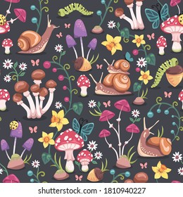 Seamless repeated surface vector pattern design with mushrooms, snails, butterflies, ladybugs and colorful flowers on a  dark gray background