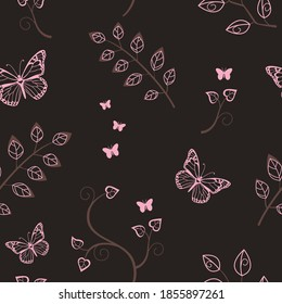 Seamless repeated surface vector pattern design with pink butterflies and leaves on a dark brown background
