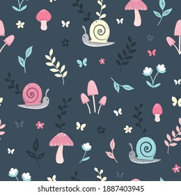Seamless repeated surface vector pattern design with little pink, blue and yellow snails, mushrooms, butterflies, flowers and leaves on a dark blue background