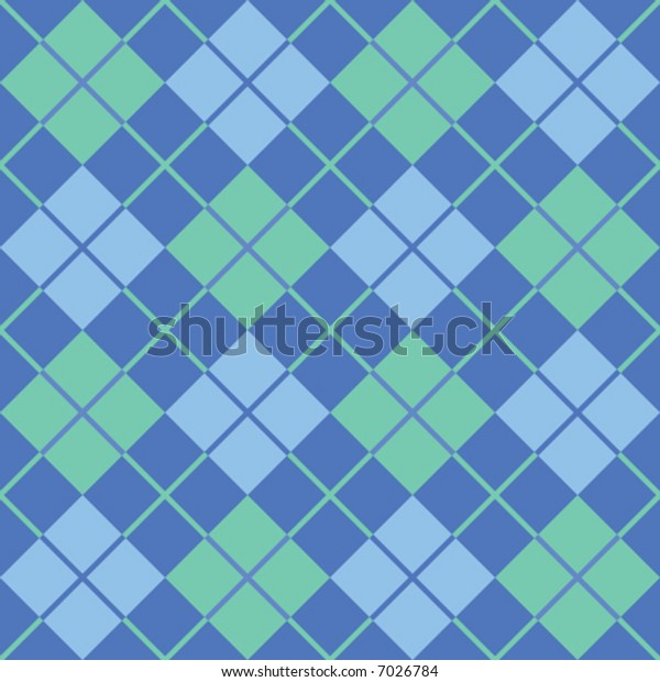 "A seamless, repeating 12"" square vector argyle pattern in blue and green."