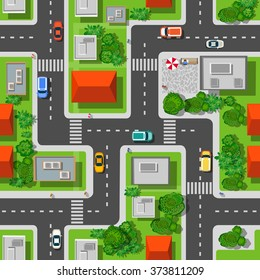 Seamless repeating background urban  pattern. Top view of the city quarter with streets, houses, trees, town landscape and cars