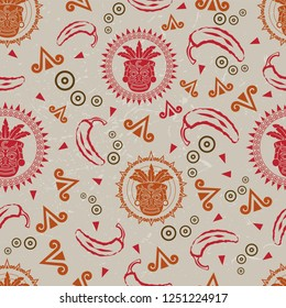 Seamless repeating Mexican themed background vector pattern.