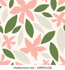 Seamless repeating pattern with abstract floral and leaf shapes in light gray, green and pastel pink on cream background. Modern and stylish textile, gift wrap, wall art, packaging and branding design