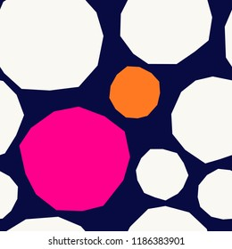 Seamless repeating pattern with abstract geometric shapes in white, orange and pink on navy blue background. Wall art, greeting card, textile, packaging design.