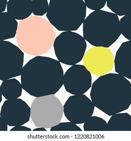 Seamless repeating pattern with abstract geometric shapes in dark blue, pastel pink, neon yellow and gray on white background. Wall art, greeting card, textile, packaging design.
