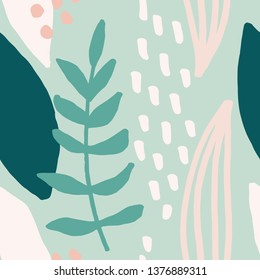 Seamless repeating pattern with abstract leaf shapes in mint, white, pastel pink and green mint green background. Modern and stylish textile, gift wrap, wall art, packaging and branding design.
