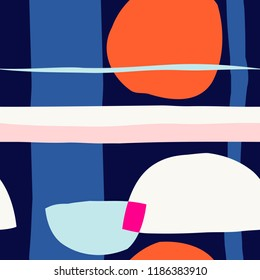 Seamless repeating pattern with abstract shapes in pink, blue and orange on navy blue background. Wall art, greeting card, textile, packaging design.