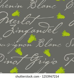 Seamless repeating pattern background with bunches of grapes and various wines text.