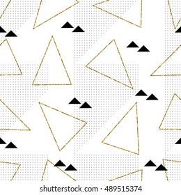 Seamless repeating pattern with black and gold glitter triangles on white background. Modern and elegant tiling background, poster, textile, greeting card design.
