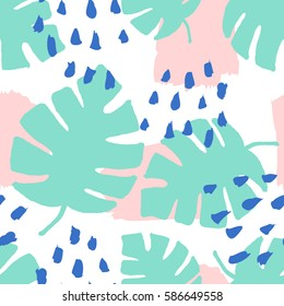 Seamless repeating pattern with brush strokes in blue and pastel pink and green tropical leaves on white background. Retro style tiling background, poster, textile, greeting card design.