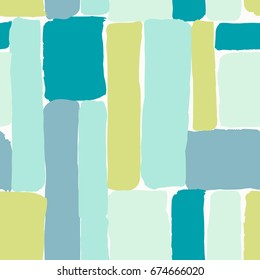 Seamless repeating pattern with brush strokes in blue, mint, lime green and teal on white background. Creative and modern tiling background, poster, textile, greeting card design.