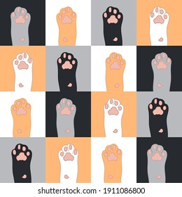 Seamless repeating pattern of cat paws. Vector cartoon illustration.