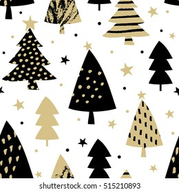 Seamless repeating pattern with Christmas trees in black and gold on white background. Festive Christmas wallpaper, wrapping paper, wall art design.