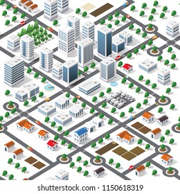 Seamless repeating pattern city isometric architecture business concept background