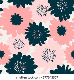 Seamless repeating pattern with floral elements in pastel colors on cream background.